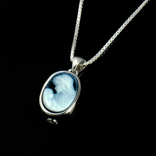 Mother & Child Cameo Cremation Necklace in Sterling Silver