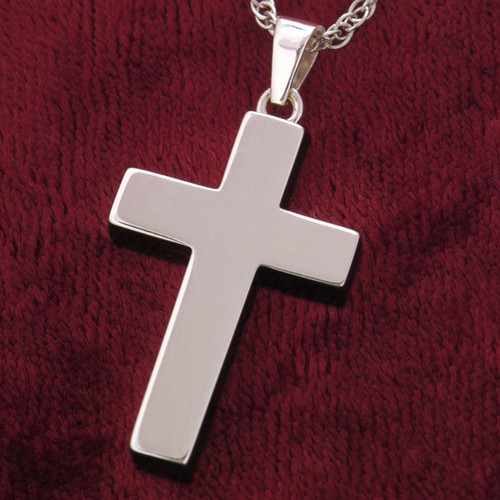 Simple Christian Cross Necklace in Sterling Silver