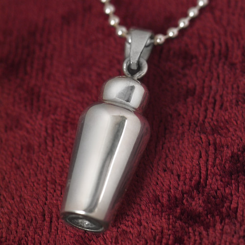 Simple Cremation Urn Pendant Necklace in Sterling Silver