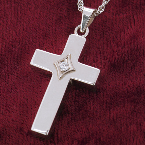 Christian Cross with Birthsone Cremation Necklace