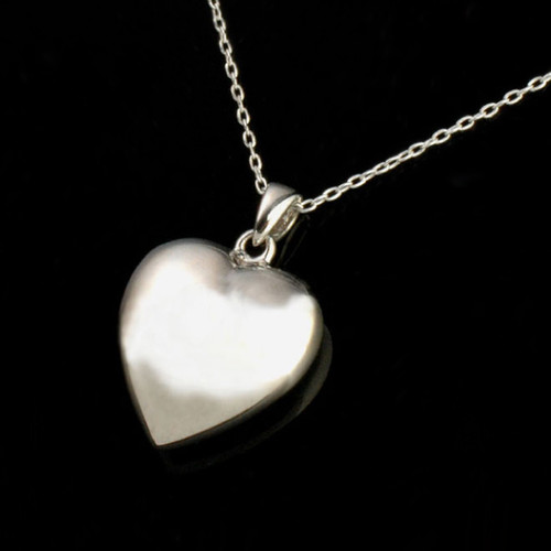 Simple Heart Cremation Necklace in Sterling Silver
