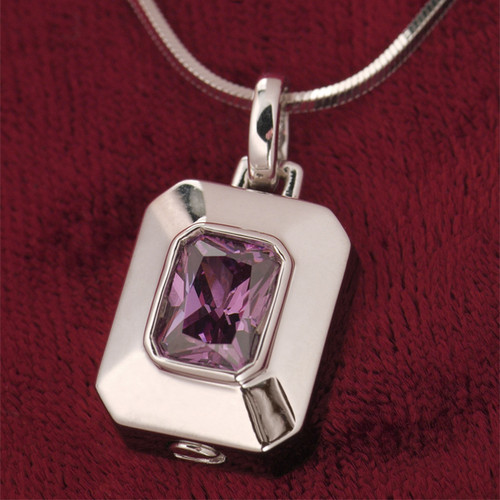 Rectangle Birthstone Cremation Necklace