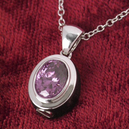 Oval Birthstone Cremation Necklace