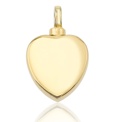 Simple Gold Heart Cremation Pendant