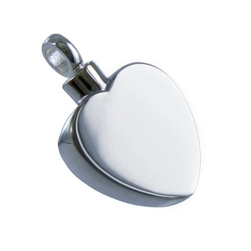 Simple Sterling Silver Heart Cremation Pendant