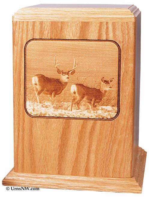 Deer Hunting Wood Urn