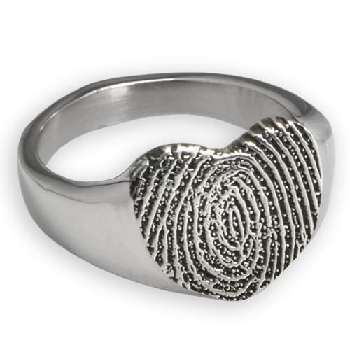 Sterling Silver Fingerprint Heart Ring - No chamber