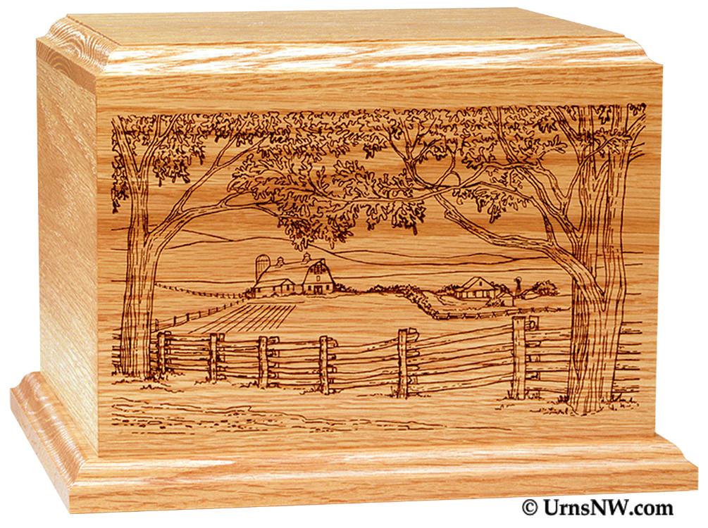 Pet Cremation Urns Wood Farm Scene Wood Cremation Urn