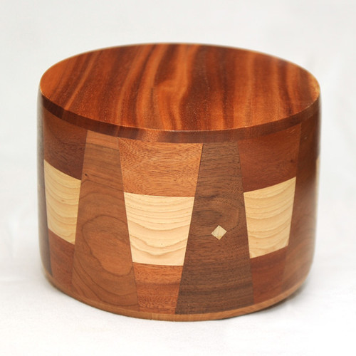 Round Cremation Urn in African Mahogany