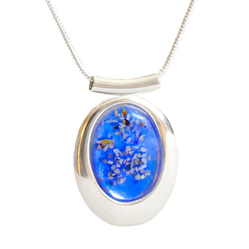 """Large Oval Deluxe Blue Memorial Necklace - """"Mosaic"""""""