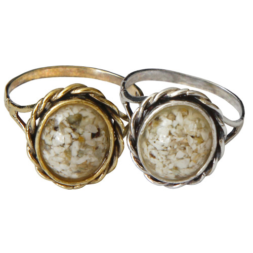 Memorial Filigree Ring made with Cremated Ashes - Clear - Gold/Silver