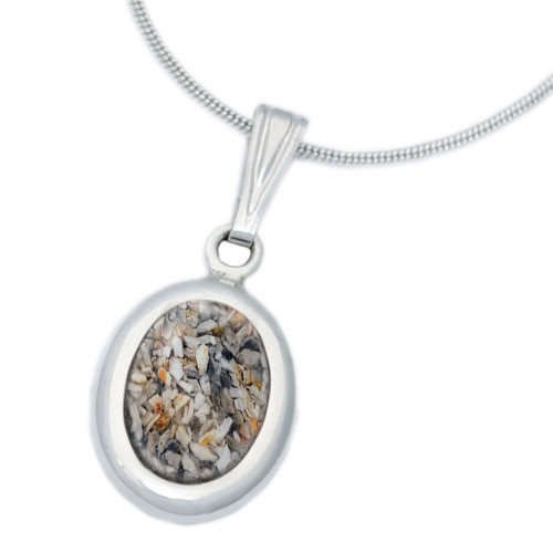 Small Oval Cremation Necklace in Sterling Silver - Clear