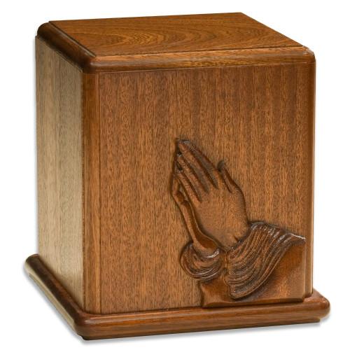 Praying Hands Mahogany Cremation Urn
