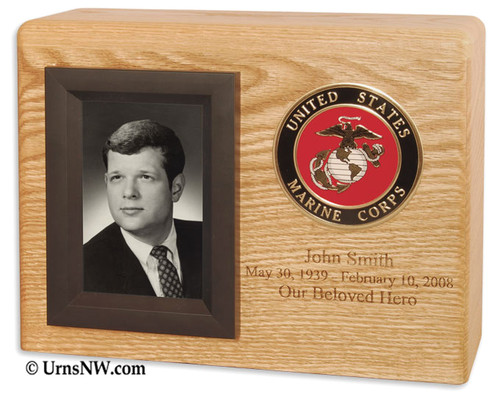 Military Photo Cremation Urn Shown with optional engraving