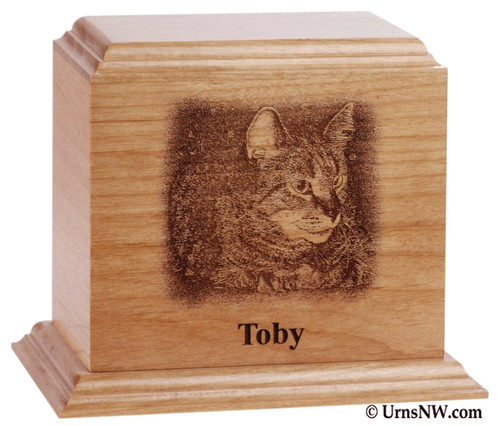 Engraved Photo Pet Urn - Alder
