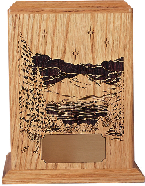 Evening Reflections Cremation Urn   With Optional Wood Base