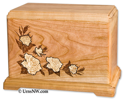 Rose Inlay Urn | White Roses