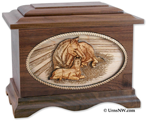 Horses Wood Cremation Urn in Walnut