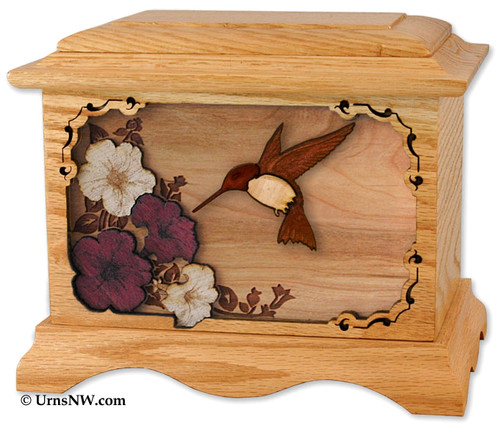 Hummingbird Urn in Oak