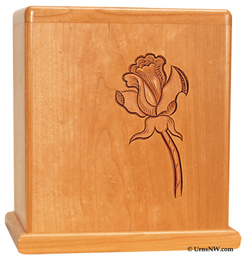 Single Rose Cherry Wood Urn