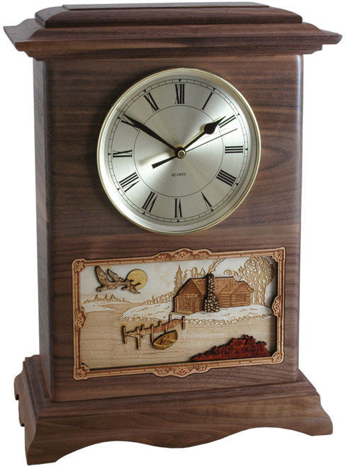 Clock Cremation Urn - Walnut with Rustic Scene