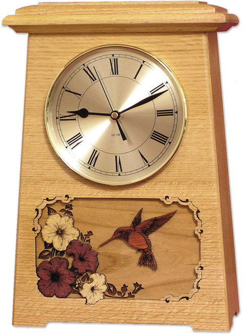 Astoria Clock Urn - Oak with Hummingbird