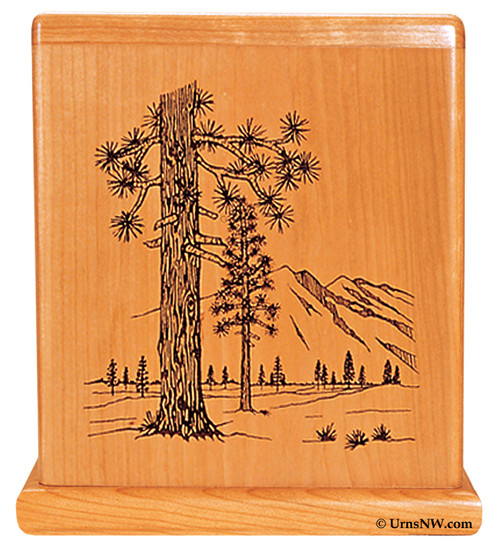 Cherry Urn with Forest engraving