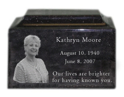 Engraved Photo Urn in Granite