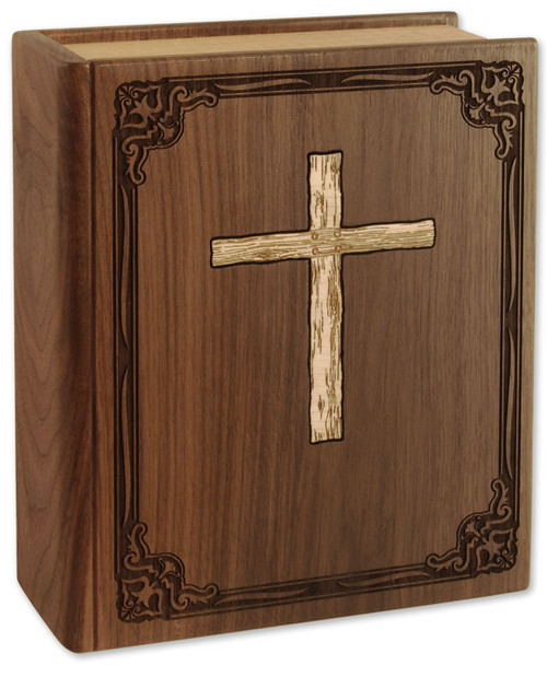 Bible Urn with Cross Book Urn