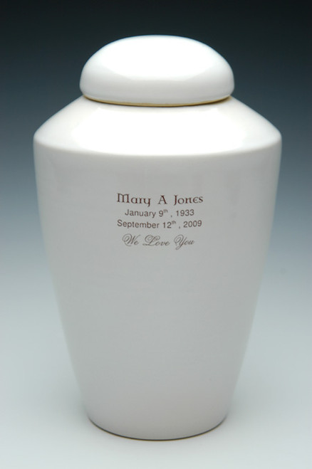 Ceramic Cremation Urn with Inscription