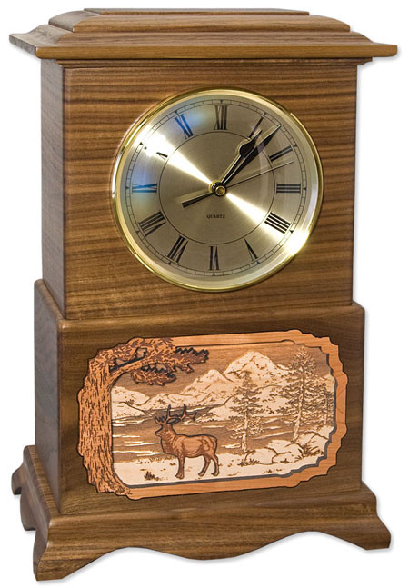 Ambassador Clock Urn - Walnut with Elk Scene