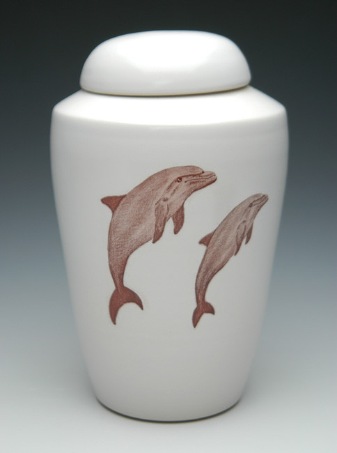 Dolphin Ceramic Cremation Urn | Shape 1