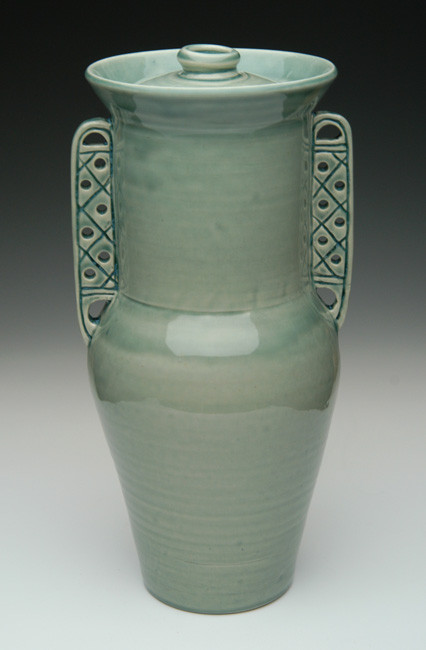 Greek Pithos Cremation Urn in Tea Green