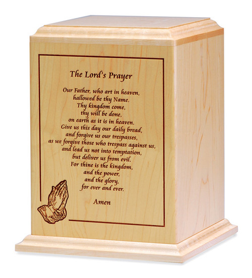 Lord's Prayer Cremation Urn | Walnut Wood