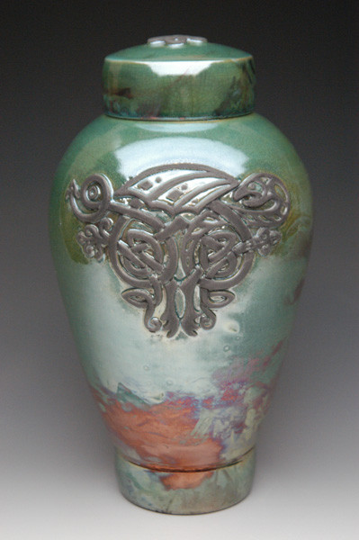 Celtic Dragon Raku Urn