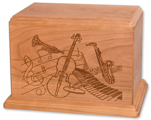 Laser Carved Music Urn - Natural Cherry