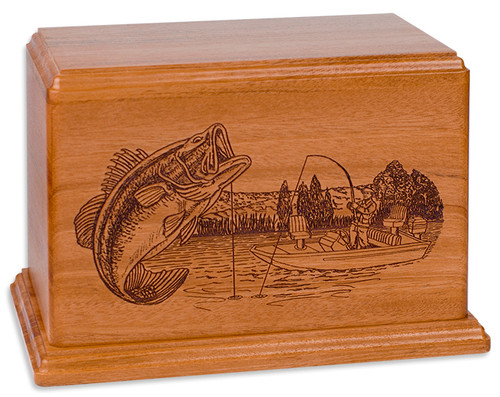 Laser Carved Boat Fishing Urn - Natural Cherry Wood