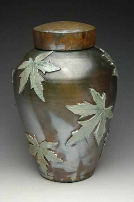 Falling Leaves Maple Raku Urn: Lemon Luster on Heavy Metal