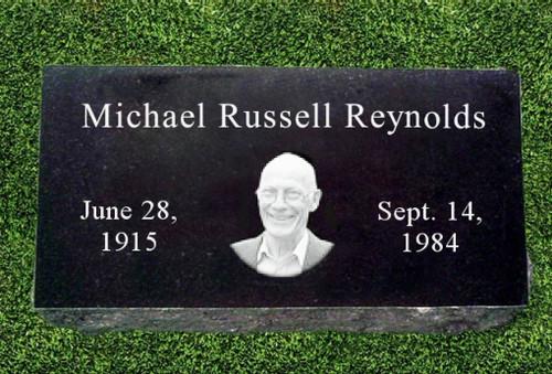 Center Round Photo Grave Marker