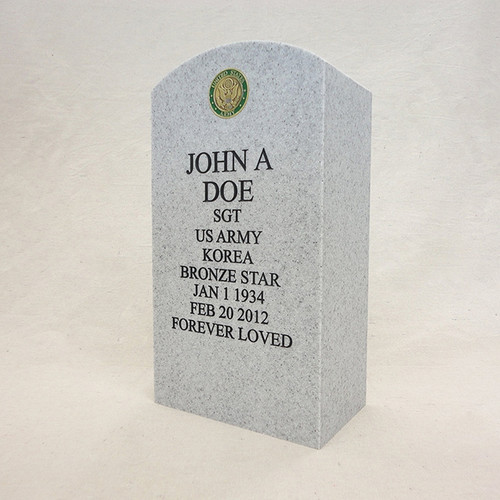 Military Headstone Cremation Urn with Service Emblem