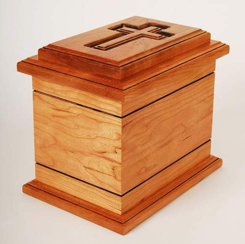 Wilmington Cross Urn in Cherry Wood