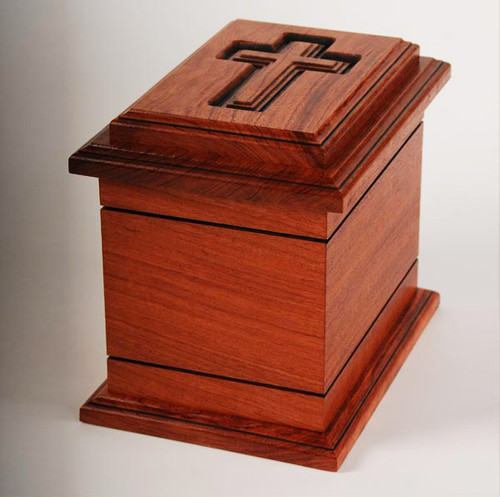 Wilmington Cross Urn in Bubinga Wood