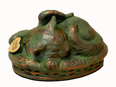 Cat Cremation Urn - Verdigris