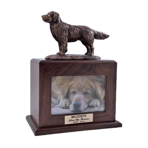 Golden Retriever Urn with Photo Frame in Walnut