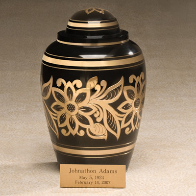 Sultan Brass Cremation Urn - Shown with optional Engraved Easel