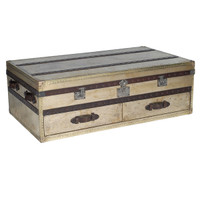 Metal Coffee Table Trunk-Vintage Brass