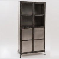 Antiqued Nickel Element Industrial Cabinet