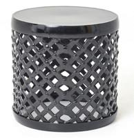 Marlow Black Drum Stool Side Table