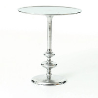 Marlow Aluminum Matchstick Pedestal Side Table, Polished