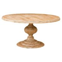 "60"" Round Pedestal Dining Table-Whitewash"